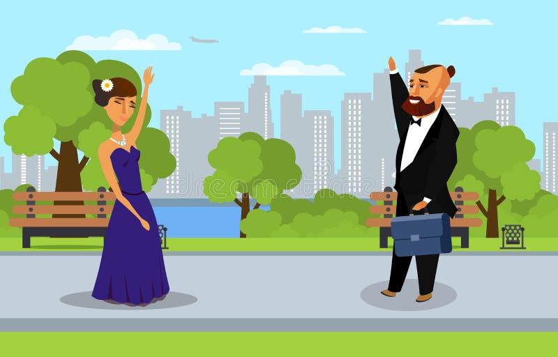 Uomo e donna nell'illustrazione piana di vettore del parco illustrazione vettoriale