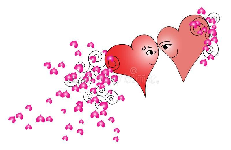 Uomo e donna nella forma del cuore illustrazione vettoriale