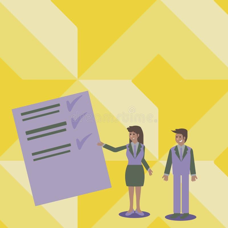 Uomo e donna sicuri in vestito che sta, Gesturing e presentante rapporto di dati sul bordo di colore creativo illustrazione vettoriale