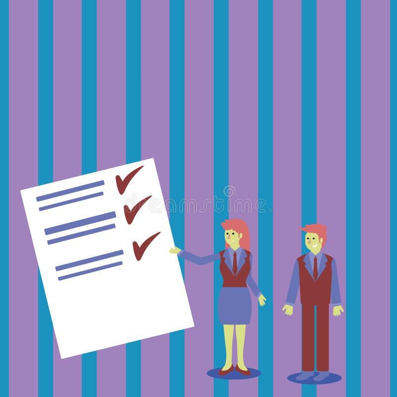 Uomo e donna sicuri in vestito che sta, Gesturing e presentante rapporto di dati sul bordo di colore creativo illustrazione di stock