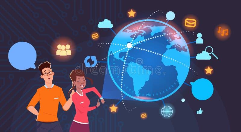 Uomo e donna sopra il globo del mondo con Internet sociale del fondo delle icone di media ed il concetto moderno di tecnologia illustrazione vettoriale