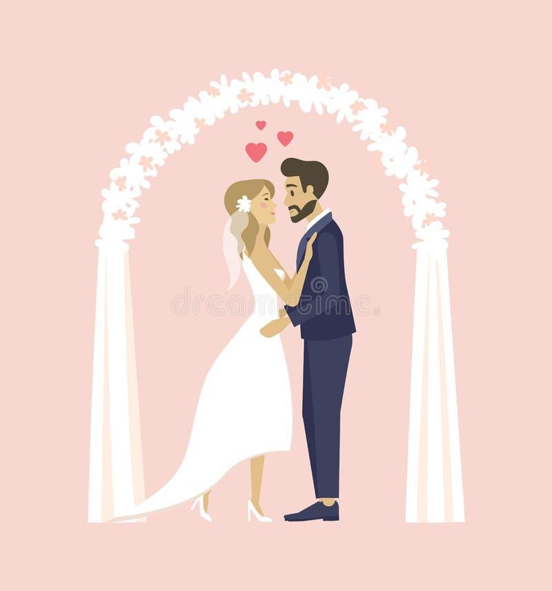 Uomo e donna sul partito di impegno, la gente di nozze illustrazione di stock