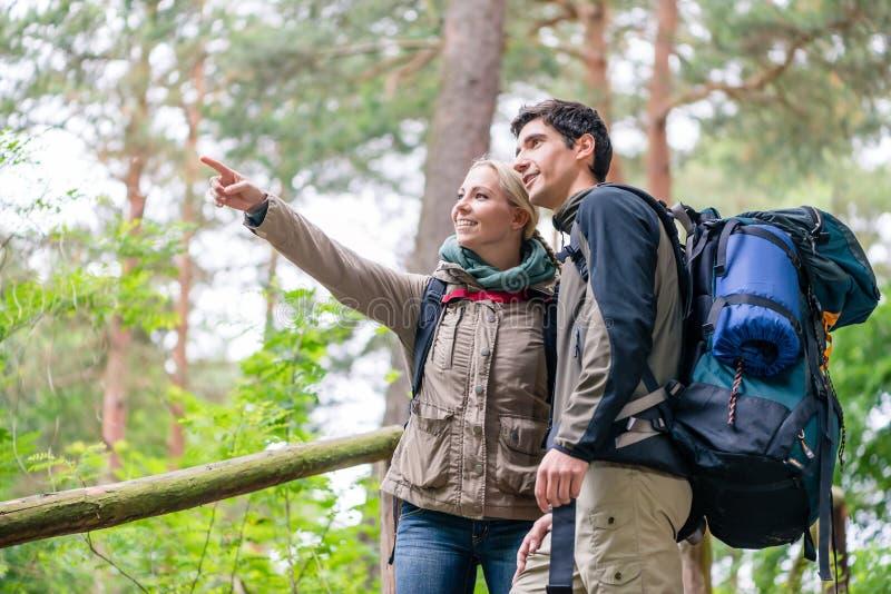Uomo e donna sull'aumento che cerca la traccia giusta sulla mappa fotografia stock