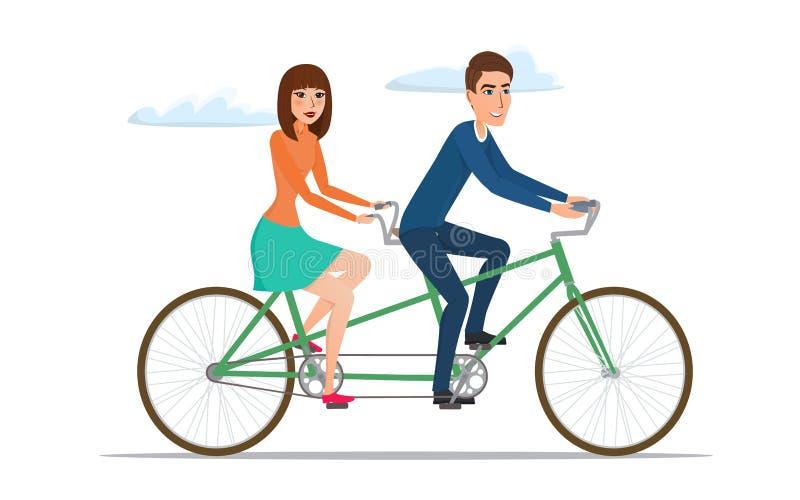 Uomo e donna sulla bici gemellata Giovani coppie che guidano una bicicletta in tandem illustrazione vettoriale
