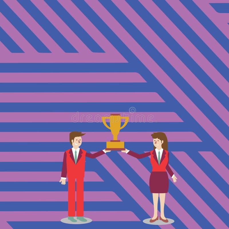 Uomo e donna in vestito che tengono insieme la tazza del trofeo dei vincitori di campionato loro Priorità bassa creativa illustrazione di stock