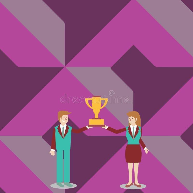 Uomo e donna in vestito che tengono insieme la tazza del trofeo dei vincitori di campionato loro Priorità bassa creativa royalty illustrazione gratis