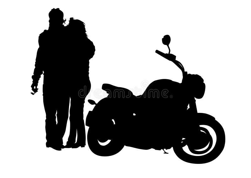 Uomo e la donna vicino al motociclo illustrazione di stock