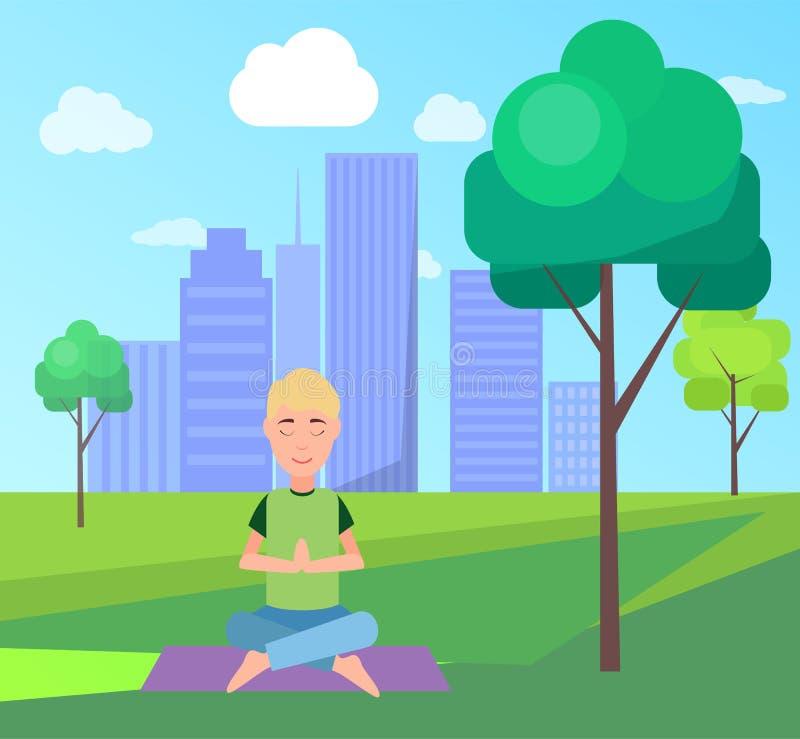 Uomo e meditazione all'illustrazione di vettore del parco illustrazione vettoriale
