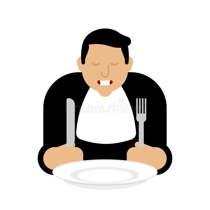 Uomo e modello vuoto del piatto Cucchiaio e forchetta della tenuta del tipo con il piatto vuoto prima del pasto royalty illustrazione gratis