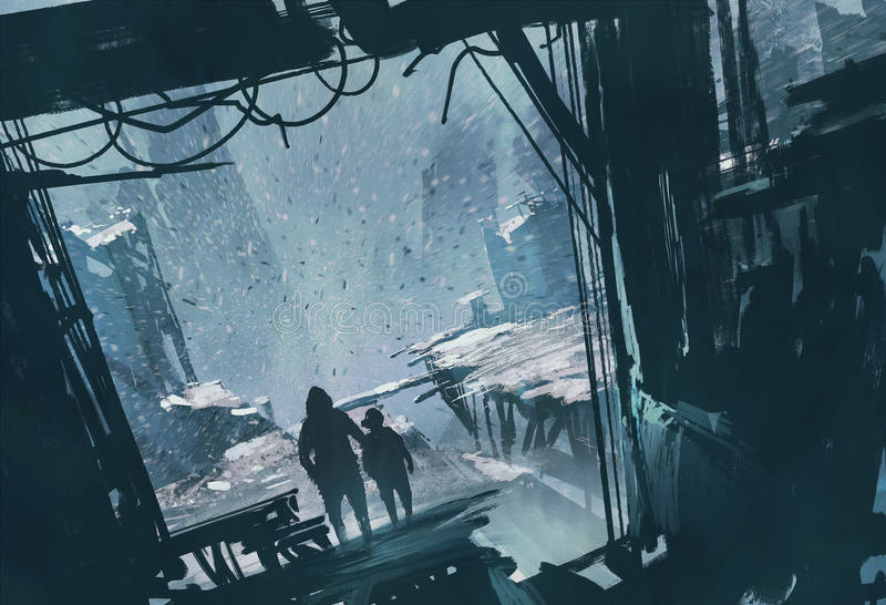 Uomo e ragazzo che stanno esaminanti fuori la città rovinata con la tempesta della neve illustrazione di stock