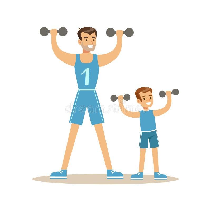 Uomo e ragazzo sorridenti che si esercitano insieme con i dumbells, il papà ed il figlio aventi buoni caratteri variopinti di tem illustrazione di stock