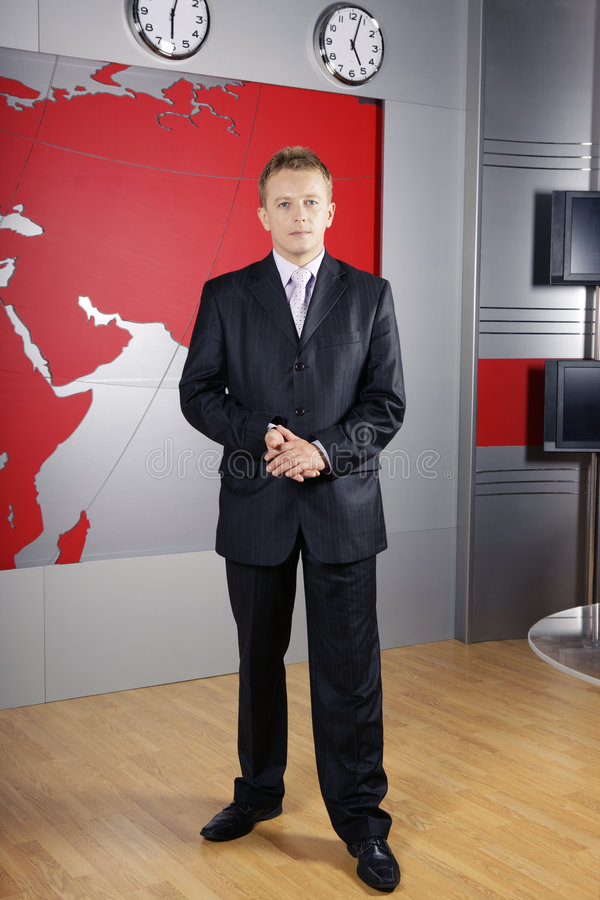 Uomo e reporter televisivo di affari fotografia stock libera da diritti