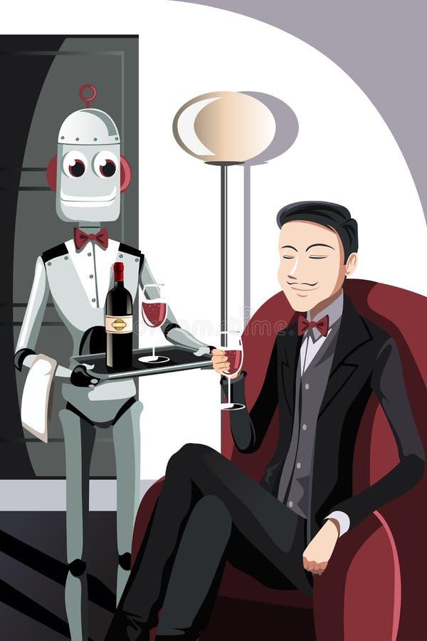 Uomo e robot illustrazione vettoriale