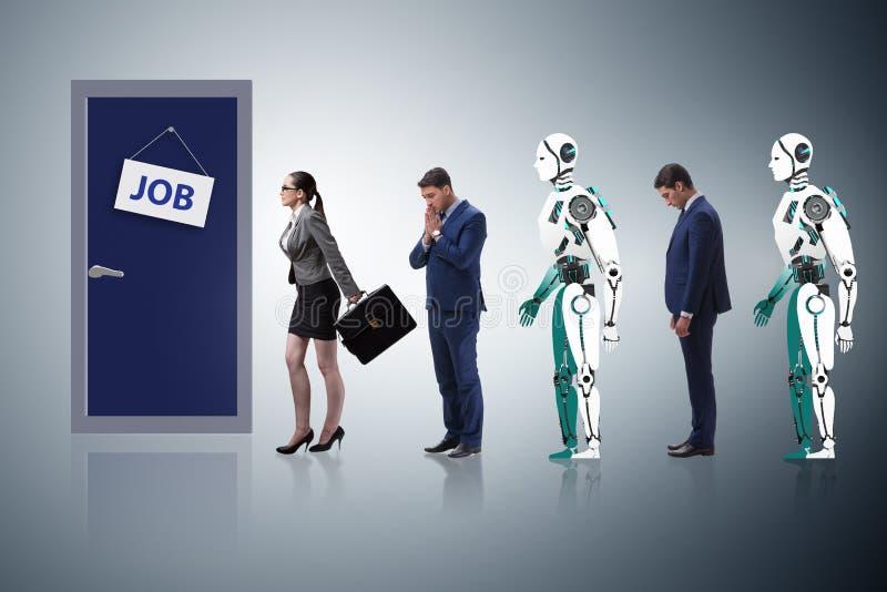 Uomo e robot della donna che competono per i lavori immagine stock libera da diritti