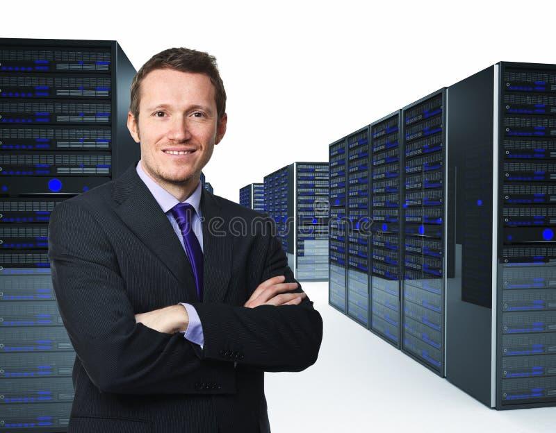 Uomo e server fotografia stock