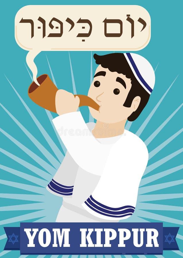 Uomo ebreo che soffia uno Shofar per celebrare Yom Kippur, illustrazione di vettore illustrazione vettoriale