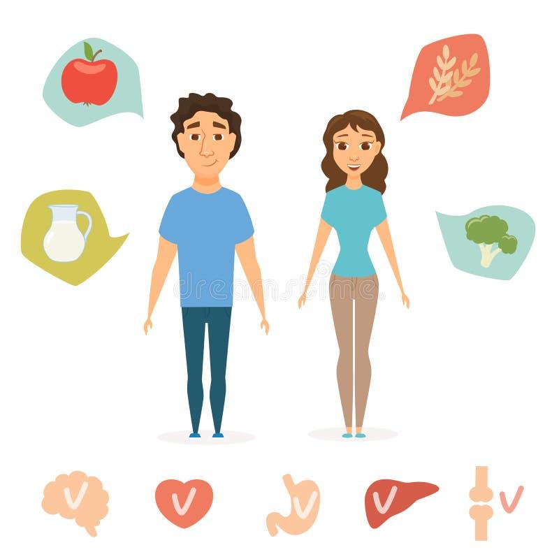 Uomo ed alimento sano delle donne illustrazione vettoriale