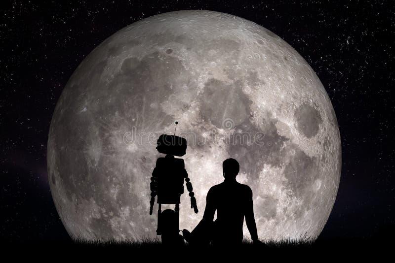 Uomo ed il suo amico del robot che considerano luna Concetto futuro, intelligenza artificiale fotografia stock libera da diritti