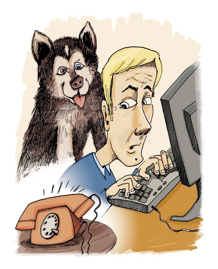 Uomo ed il suo cane royalty illustrazione gratis
