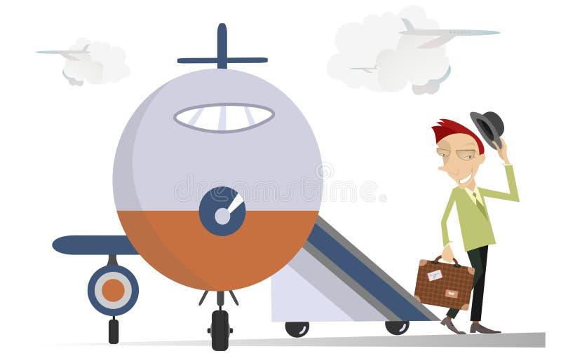 Uomo elegante nell'aeroporto royalty illustrazione gratis