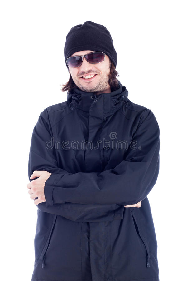 Uomo estatico in vestiti di inverno fotografia stock libera da diritti