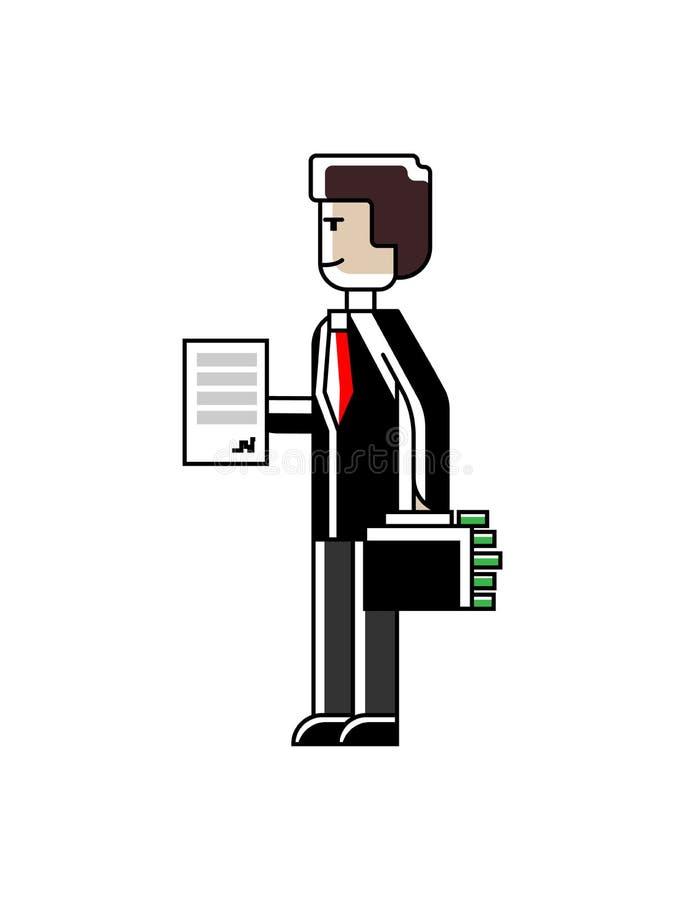 Uomo europeo con il contratto e la valigia illustrazione vettoriale