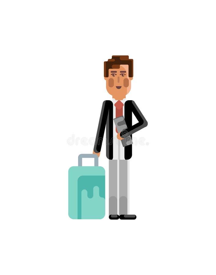 Uomo europeo con la borsa di viaggio e biglietto in mani royalty illustrazione gratis