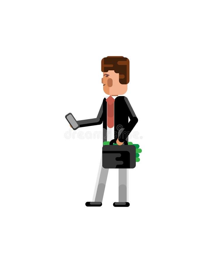 Uomo europeo con lo smartphone e la valigia royalty illustrazione gratis