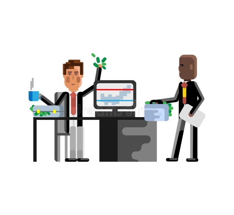 Uomo europeo di riunione d'affari con l'investitore illustrazione di stock