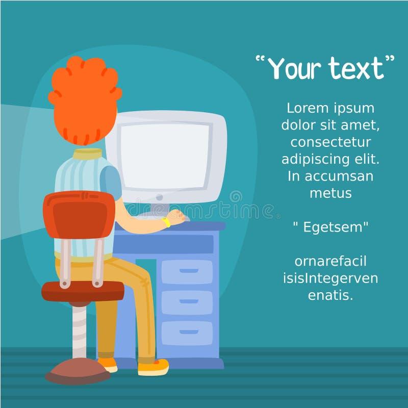 Uomo facendo uso del computer con spazio per testo, Internet, visualizzazione posteriore royalty illustrazione gratis