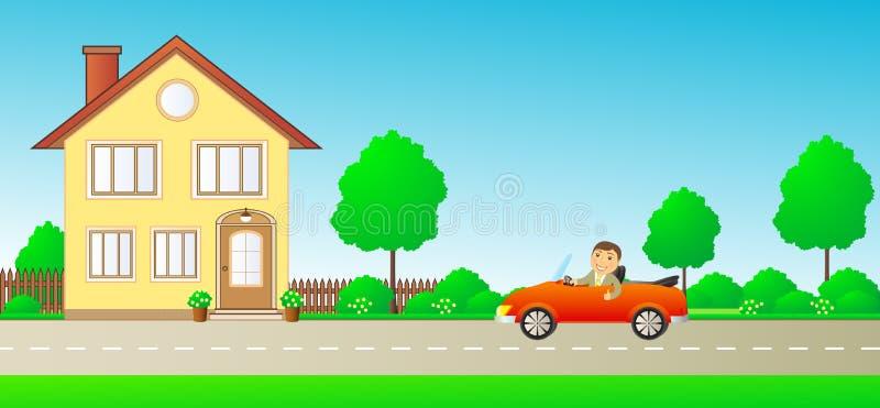 Uomo felice in cabriolet dell'automobile sulla strada e sul hou privato royalty illustrazione gratis