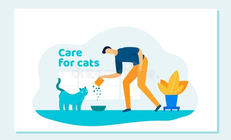 Uomo felice che alimenta Cat Put Food in Kitten Plate illustrazione vettoriale