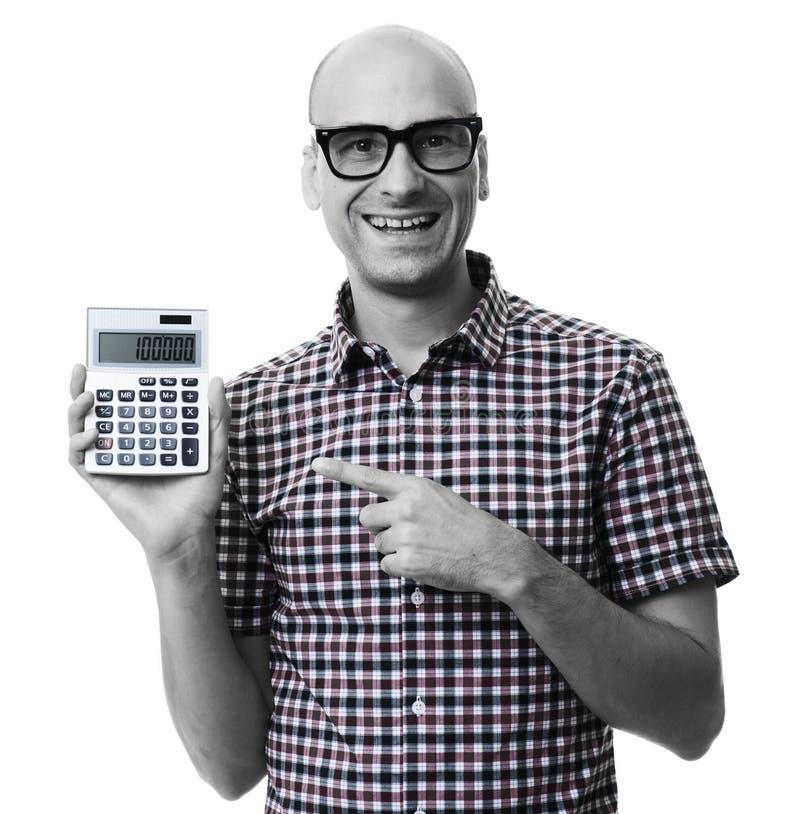 Uomo felice che indica il calcolatore Isolato immagine stock