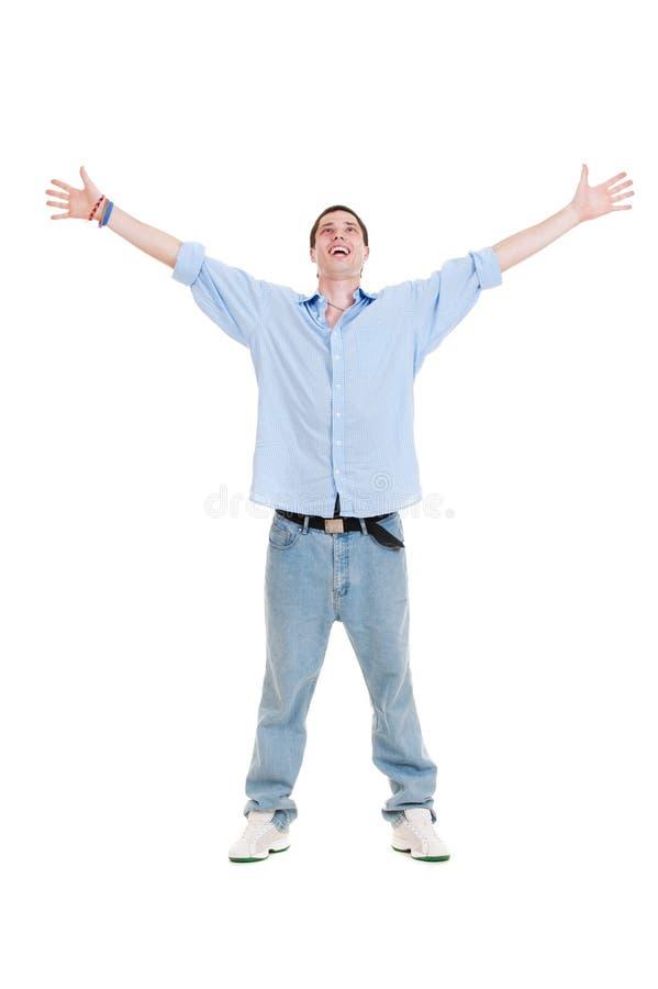 Uomo felice che osserva in su immagini stock libere da diritti