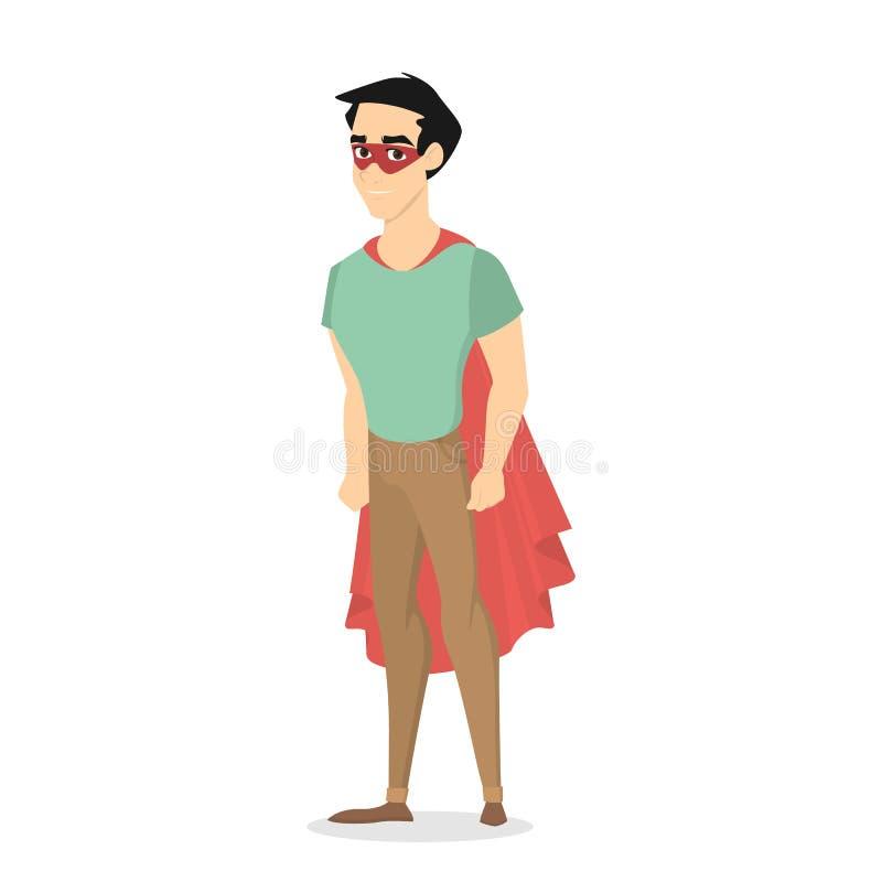 Uomo felice che sta in un costume dell'eroe eccellente illustrazione vettoriale