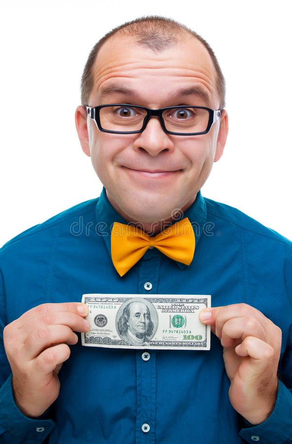 Uomo felice che tiene cento dollari fotografia stock libera da diritti