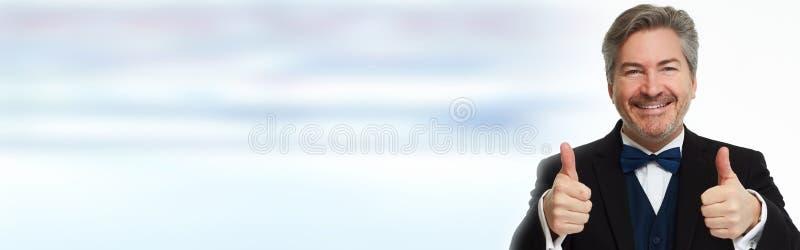 Uomo felice con i pollici immagini stock libere da diritti