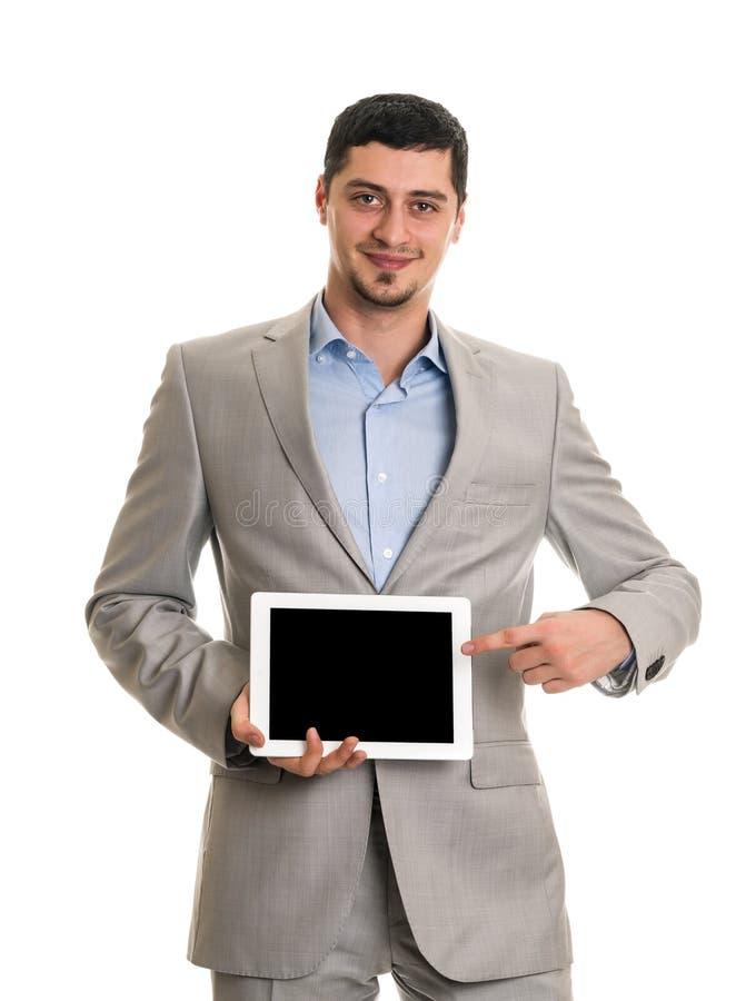 Uomo felice con il computer del pc della compressa immagine stock libera da diritti