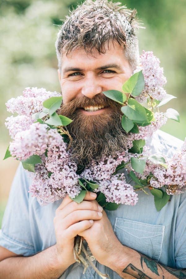 Uomo felice con il fiore del lillà e della barba Sorriso barbuto dell'uomo con i fiori lilla il giorno soleggiato I pantaloni a v fotografia stock libera da diritti