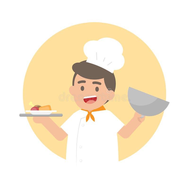 Uomo felice del cuoco unico che tiene un vassoio d'argento con cibo cotto, carbone sveglio illustrazione di stock
