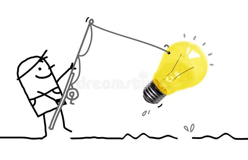 Uomo felice del fumetto che pesca una grande lampadina immagini stock