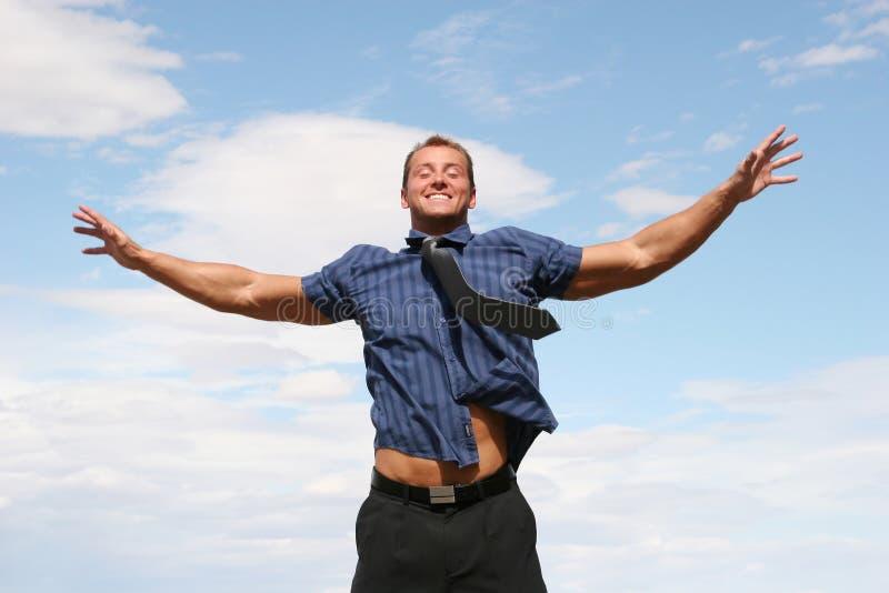 Uomo felice di affari fotografie stock libere da diritti