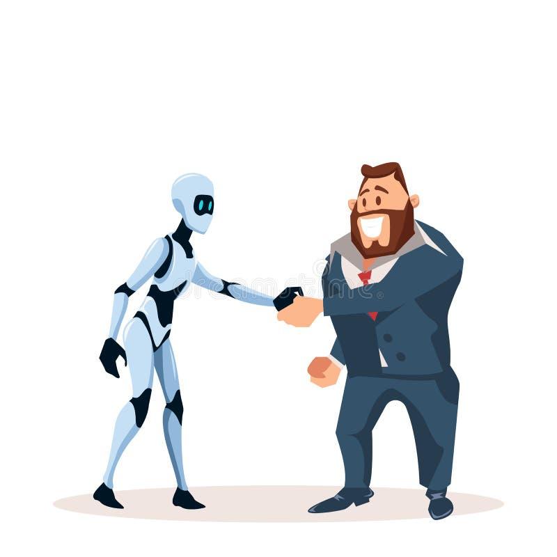 Uomo felice di affari in mano di scossa del robot e del vestito illustrazione di stock