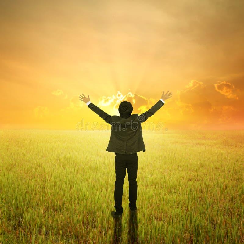 Uomo felice di affari nei campi e nel tramonto verdi fotografia stock