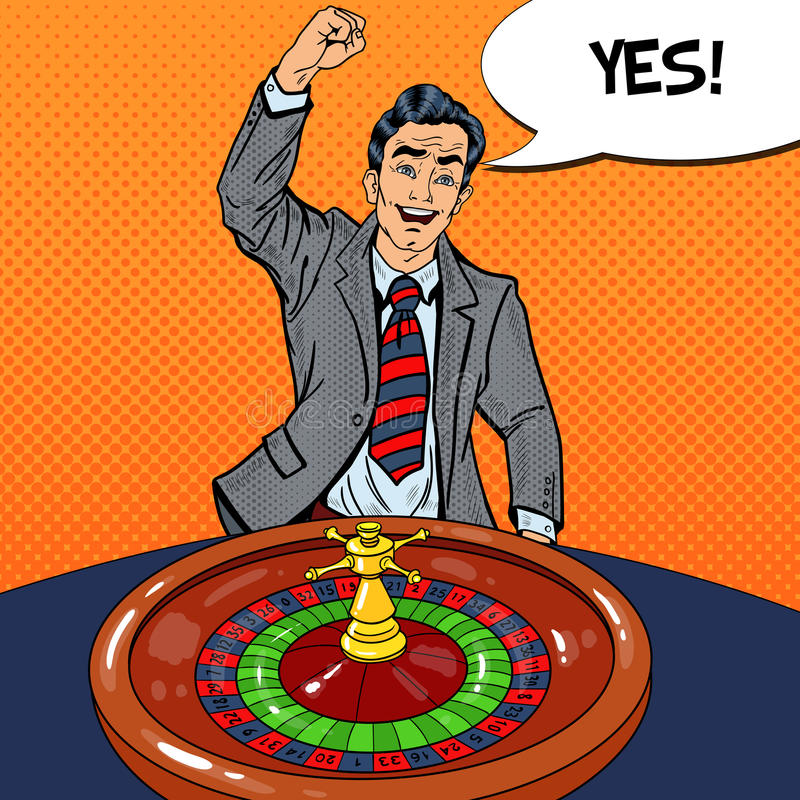 Uomo felice dietro la Tabella delle roulette che celebra grande vittoria Casinò che gioca Pop art illustrazione vettoriale