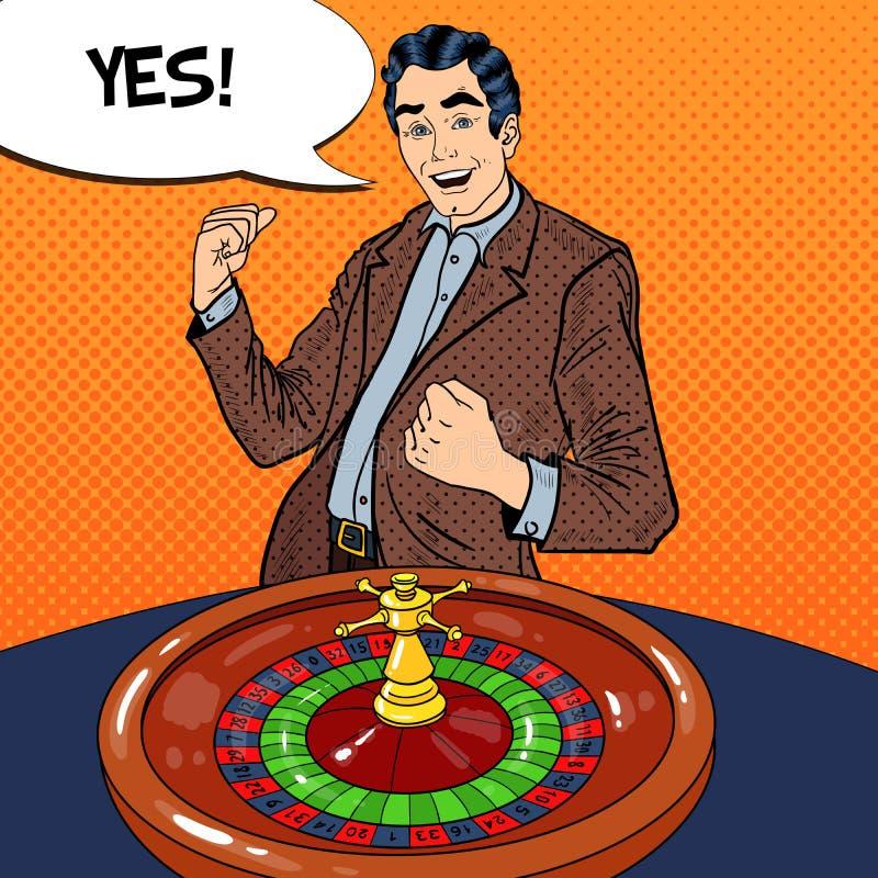 Uomo felice dietro la Tabella delle roulette che celebra grande vittoria Casinò che gioca Pop art illustrazione di stock