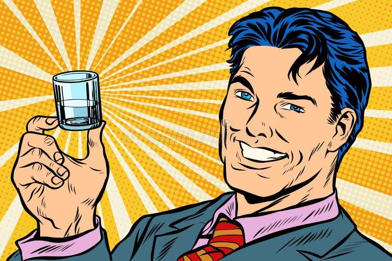 Uomo felice e un colpo della vodka royalty illustrazione gratis