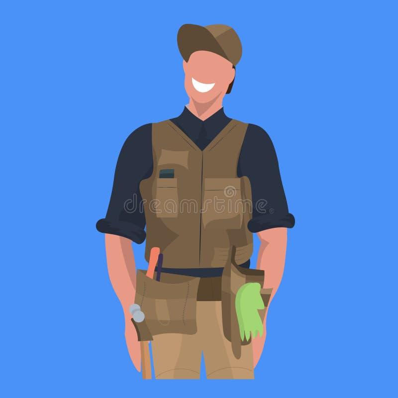 Uomo felice maschio di concetto professionale di occupazione del lavoratore di servizio di riparazione del meccanico del riparato illustrazione vettoriale
