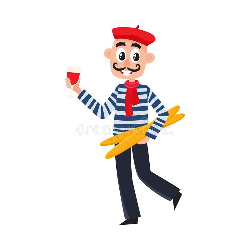 Uomo francese - camicia a strisce, berretto, vino, baguette illustrazione di stock