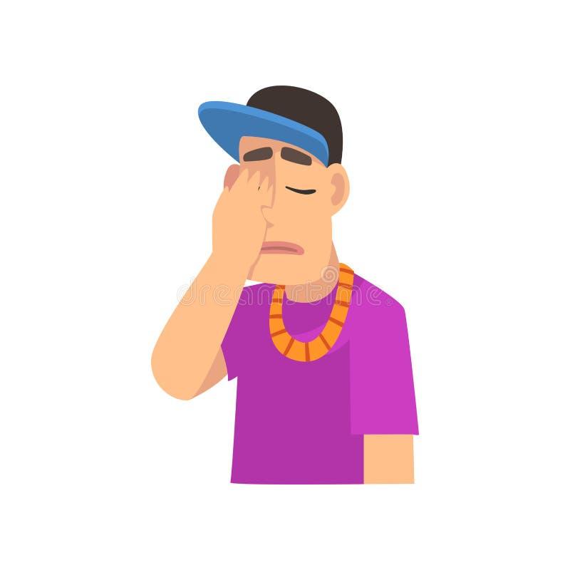 Uomo fresco del rapper che copre il suo fronte di mano, Guy Making Facepalm Gesture, vergogna, emicrania, delusione, negazione royalty illustrazione gratis